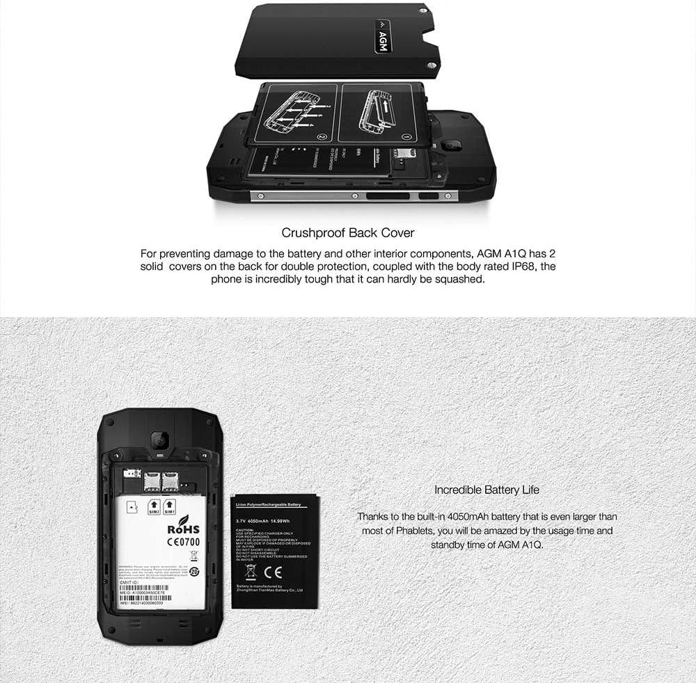 AGM a1q Teléfono Móvil para exteriores IP68 Smartphone 4 G LTE ...