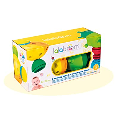 Lalaboom BL900 – Step-by-Step Developmental Sensory Bead and Ball 12 Piece Set– Pop, Twist, Mix, Match, and Stack — Montessori Method STEM Focus – Dishwasher Safe - Ages 10 Months - 3 Years: Toys & Games