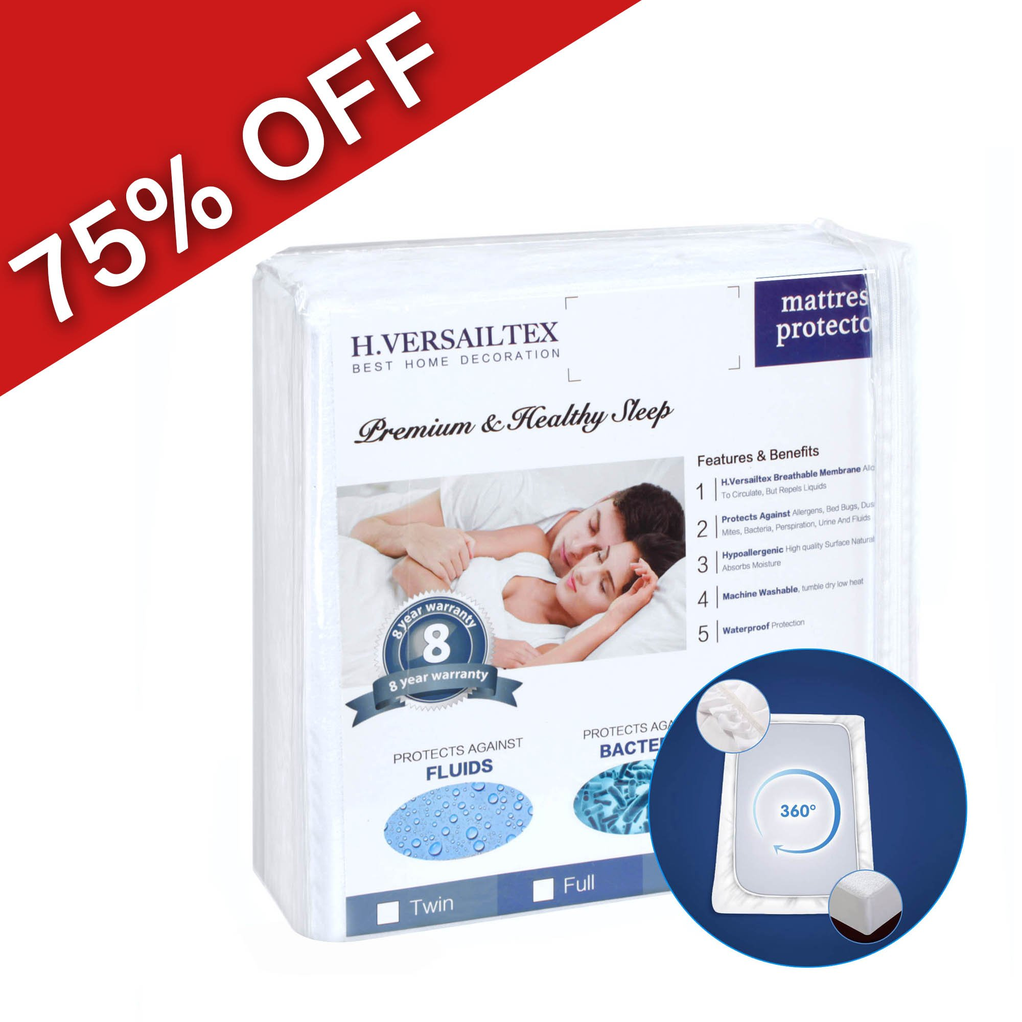 H.VERSAILTEX Bed Bug Proof King Size Premium Hypoallergenic 100% Waterproof Mattress Protector - Vinyl Free