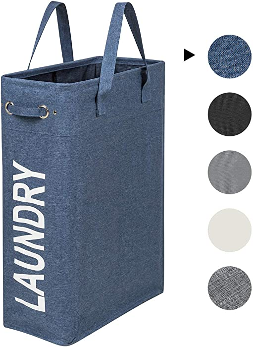 ZERO JET LAG 45L Slim Laundry Hamper with Handles Thin Laundry Bin Collapsable Dirty Clothes Basket Narrow Laundry Bag Foldable Dirty Hamper (Denim Blue)