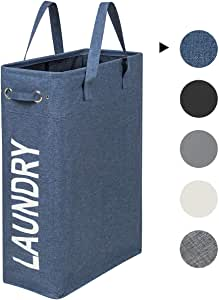 ZERO JET LAG Slim Laundry Hamper with Handles Thin Laundry Bin Collapsable Dirty Clothes Basket Narrow Laundry Bag Foldable Dirty Hamper (Denim Blue)