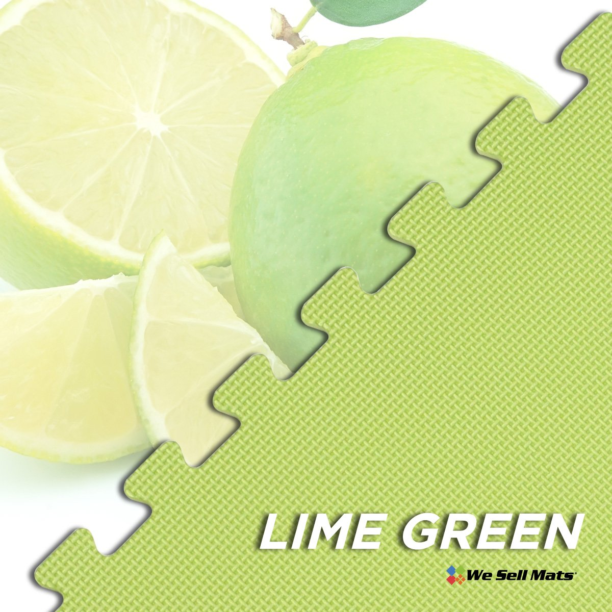 We Sell Mats Lime Green 16 Sq Ft (4 Assorted Tiles + Borders) Foam Interlocking Anti-Fatigue Exercise Gym Floor Square Trade Show Tiles by We Sell Mats (Image #5)