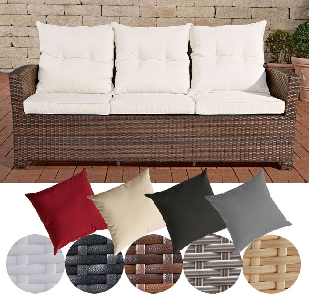 CLP Poly-Rattan 3er Sofa FISOLO, Aluminium Gestell - 100% rostfrei - inkl. Kissen & Auflagen Rattan Farbe braun-meliert, Bezugfarbe: Cremeweiß