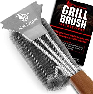 HOT TARGET Super Sturdy Grill Brush and Scraper with Safe 18