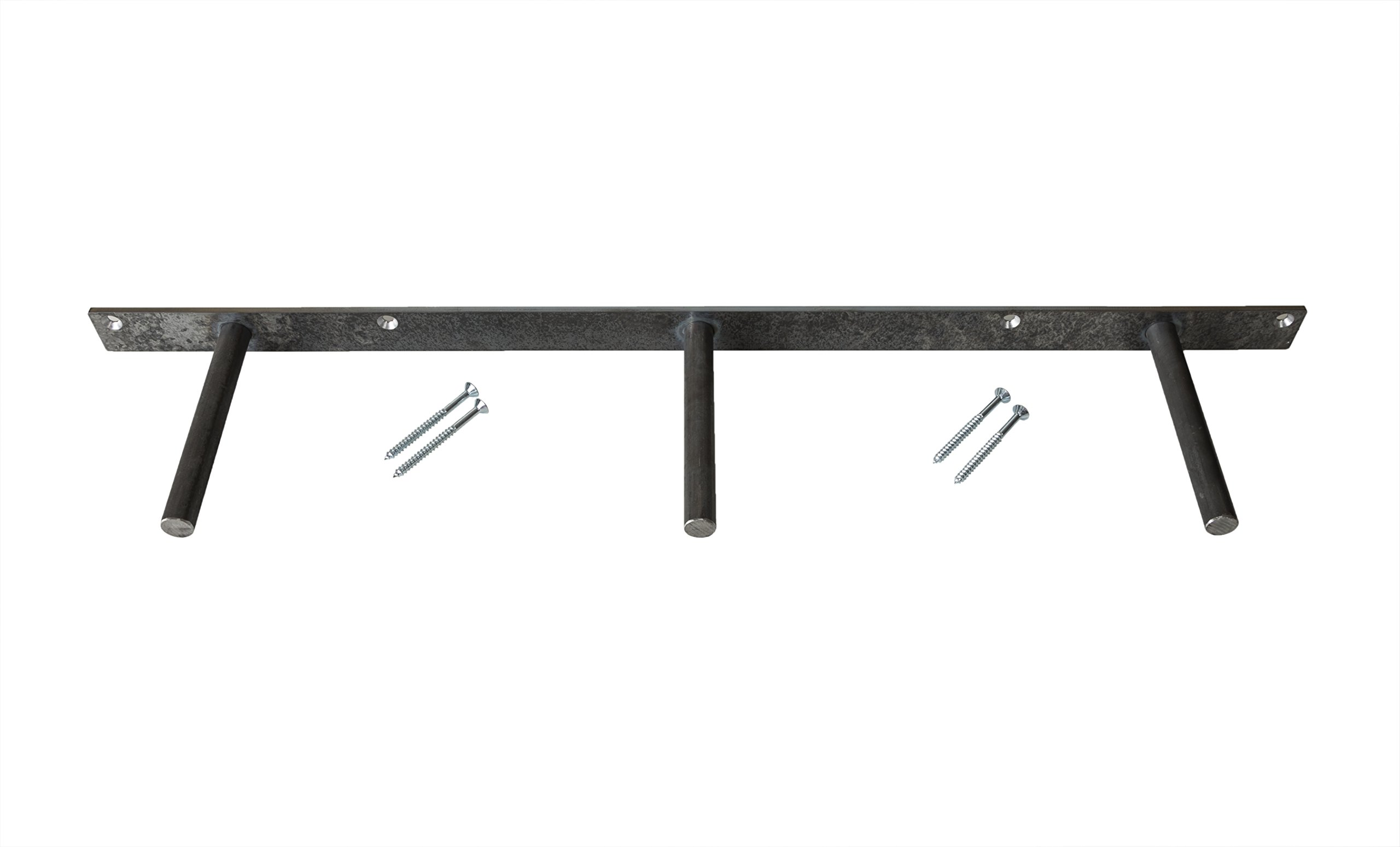 Floating Shelf Bracket - Heavy Duty Solid Steel Mounting Support (32'') Made in The USA by del Hutson Designs