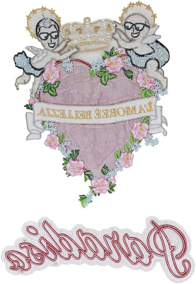 1067 1set Embroidery Angel Flower Patches Rose Heart Applique for Clothing T-Shirt Dress DIY Decoration Sewing Accessories TH1071