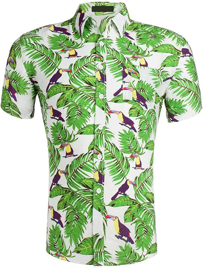Hawaiian Shirts Mens Flower Print Beach Aloha Party Holiday