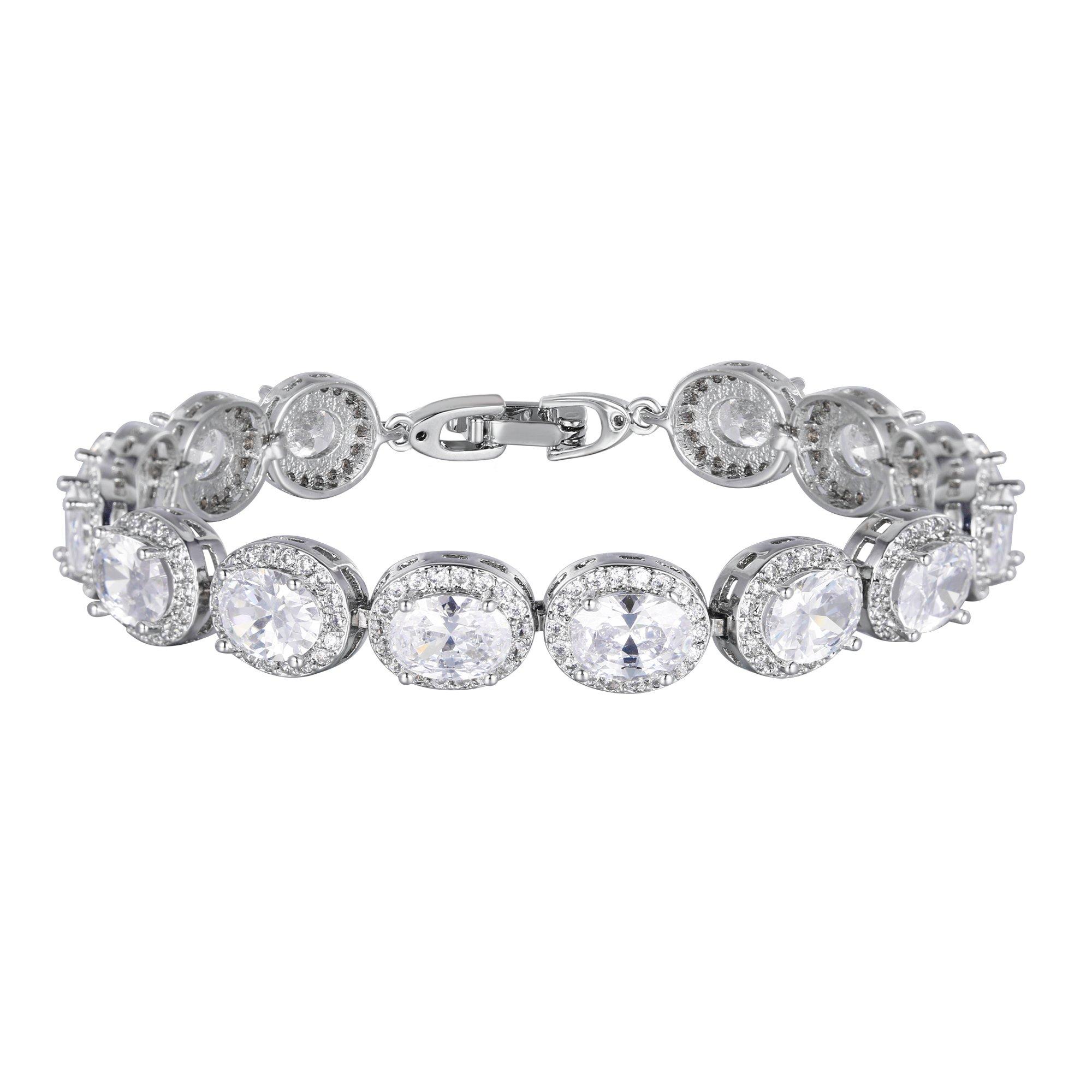 EVER FAITH Glamorous Oval-Cut Cubic Zirconia Bridal Tennis Bracelet for Brides & Bridesmaids