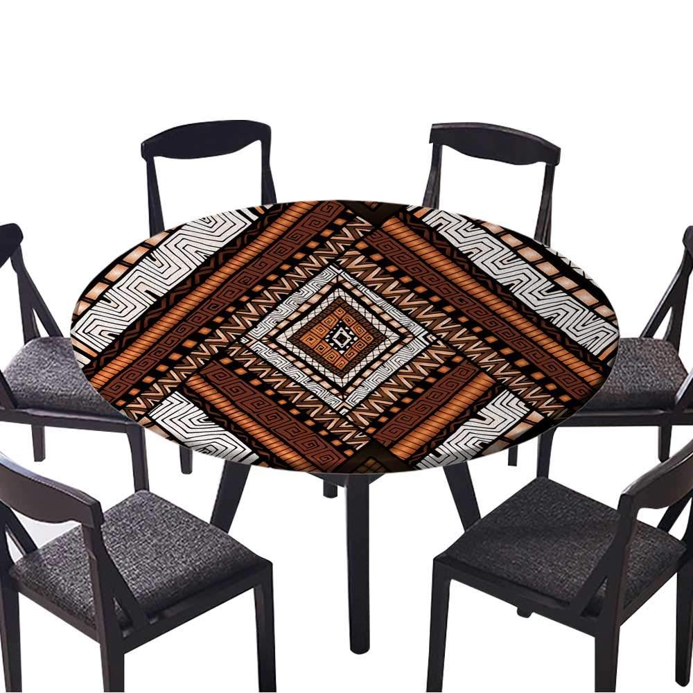 お手入れが簡単な布製テーブルクロス 装飾的 ラウンドグリーンレースパターン 円形の背景 ホーム/パーティー/結婚式に (エラスティックエッジ) 35.5