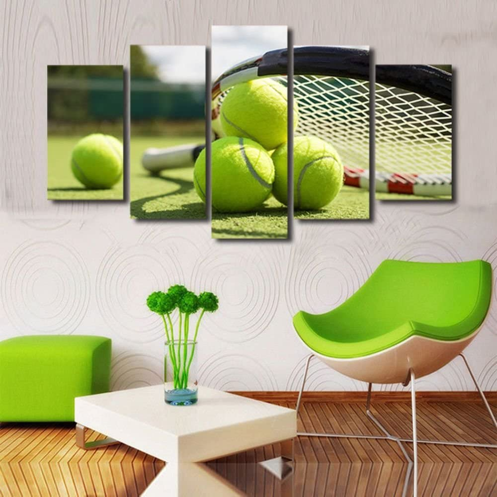Canvas Art Tennis Racket Painting Wall Pictures for Living Room Decor Frame Poster Tennis Lovers Giclee Artwork for Wall Decoration 5 Panels Stretched and Framed Gifts