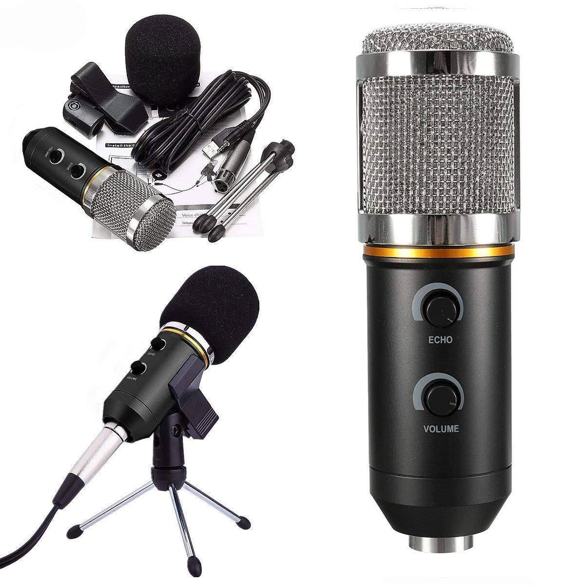 a319cd931c4eb Micrófono Condensador USB para Grabar Micrófonos PC con Soporte Trípode  Podcast Studio MIC Equipo de Sonido Profesional ...