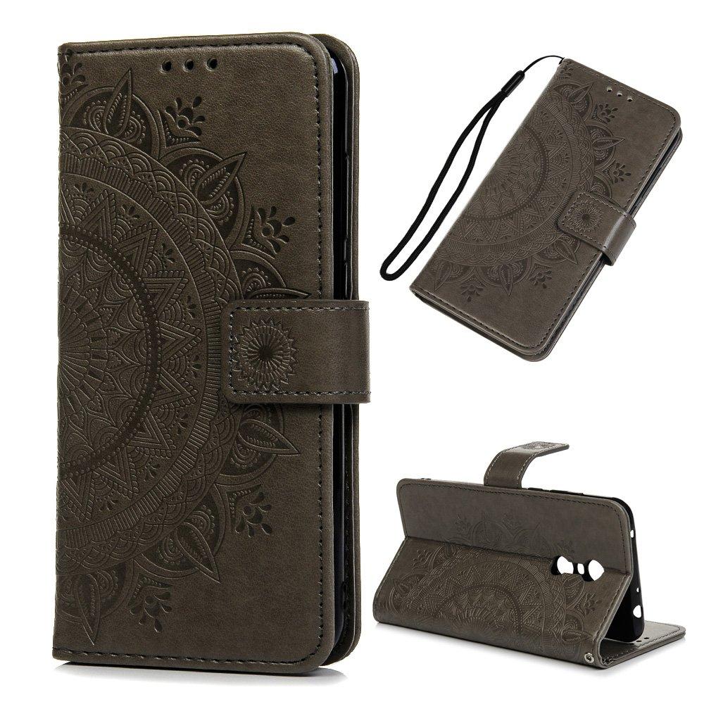 Funda Xiaomi Redmi 5 Plus, Carcasa Libro Piel de Cuero con Tapa Flip Case, Cover PU Leather Con TPU Case Interna Suave, Soporte Plegable, Ranuras para Tarjetas y Billetera Atrapasueños Color Lila iAdvantec iA23296/CNN1/EU
