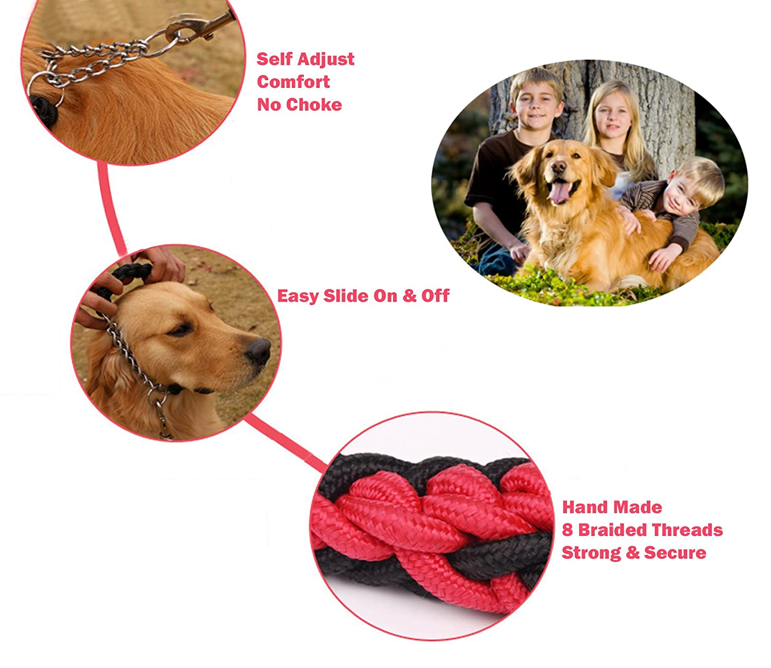 Olivery Heavy Duty Dog Martingale Braided Collar with Solid Hand Crafted Rope Leash /& Training eBook