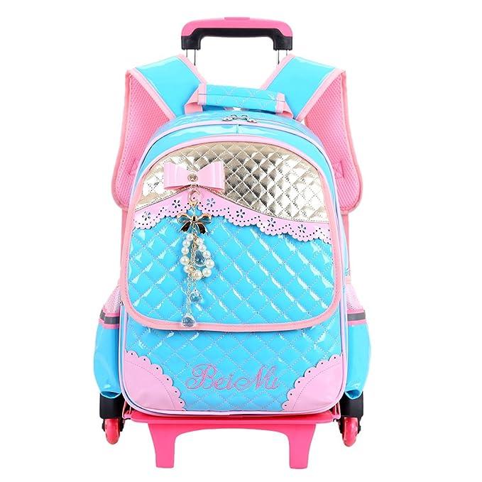 Zhhlaixing Gran Capacidad Trolley Backpack Colegio Bolsas con Ruedas Estudiantes Encantador Mochila para Chicas Escuela Primaria: Amazon.es: Ropa y ...