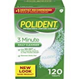 Polident 3 Minute Triple Mint Antibacterial Denture Cleanser Effervescent Tablets, 120 count