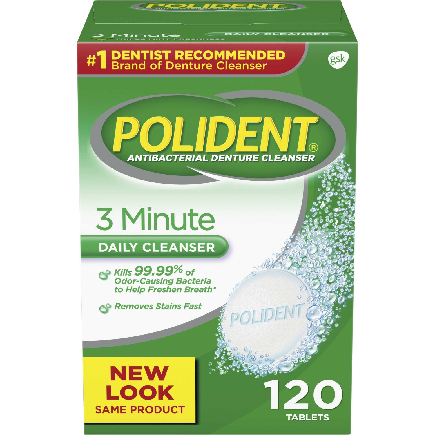 Polident 3 Minute Triple Mint Antibacterial Denture Cleanser Effervescent Tablets, 120 count: Beauty