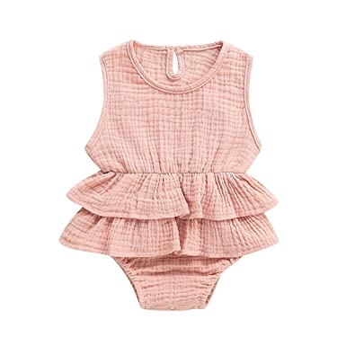 412833e56 Yoveme Newborn Baby Girl Ruffle Romper Bodysuits Cotton Flutter Sleeve One-Piece  Romper Outfits Clothes