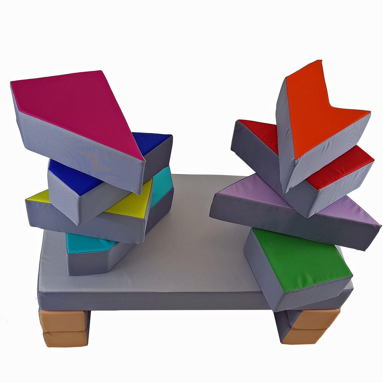 Spielsofa KG03B Kindersofa 4in1 Spielmatratze Puzzle Softsofa Kinderzimmersofa Weiches Velourskissen gratis