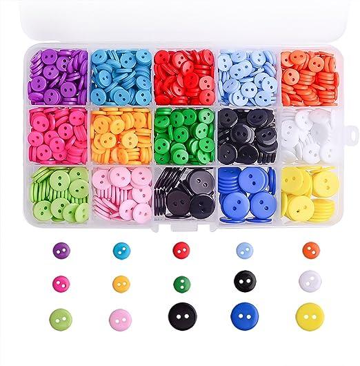1105 Piezas WXJ13 3 Tama/ños Bot/ón de Resina 14 Botones de Colores de Artesan/ía con Caja de Pl/ástico de Almacenamiento
