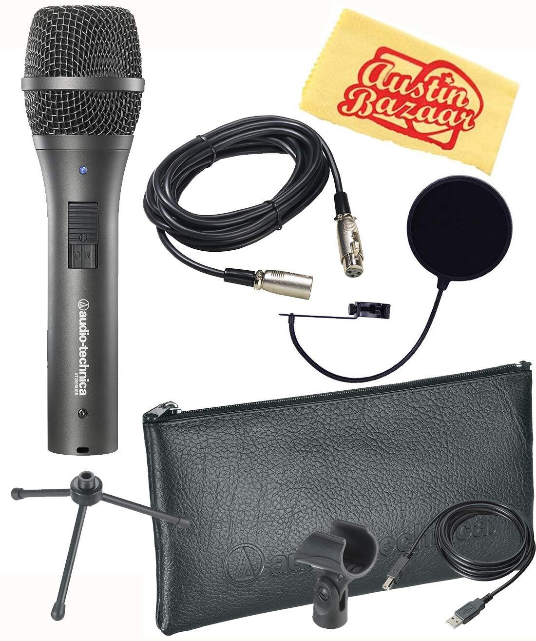 Audio-Technica AT2005USB Paquete de micrófono dinámico USB / XLR cardioide con filtro pop, cable XLR y paño de pulido Au