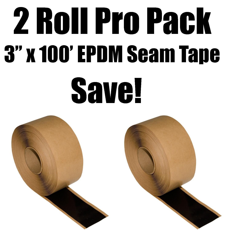 2 Roll Pro Pack Bundle - 3'' x 100' Roll Black EPDM Double Stick Seam Tape