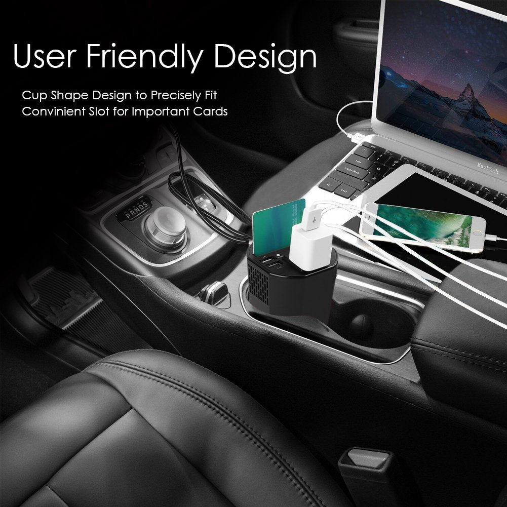 150W Power Inverter DC 12V to 110V AC Car Power Inverter with 4 USB Cup-shaped Car Charger by Dr.Auto (Image #5)