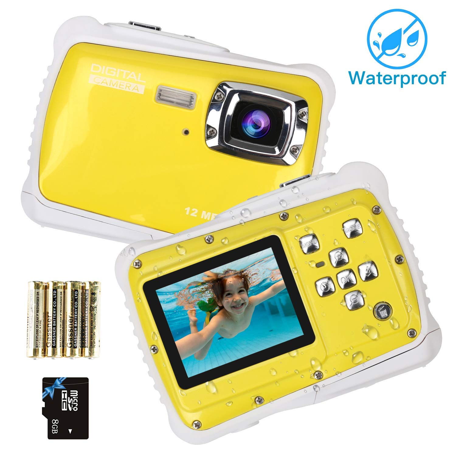 Kndio Kids Camera,Waterproof Camera for Kids Underwater Action Camera Camcorder with 12MP HD 8X Digital Zoom Flash Mic 2.0 Inch LCD Display with 8G SD Card 3 Non-Rechargeable Batteries Included by Kndio (Image #1)