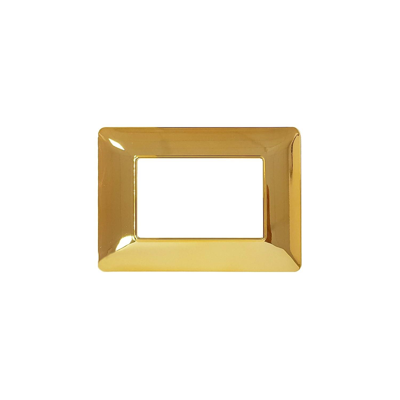 Oro Lucido 3Posti LineteckLED Placca Oro Lucido 3M Compatibile matix LNT8003 T-3 Serie Completa di Placche per Interruttori Prese