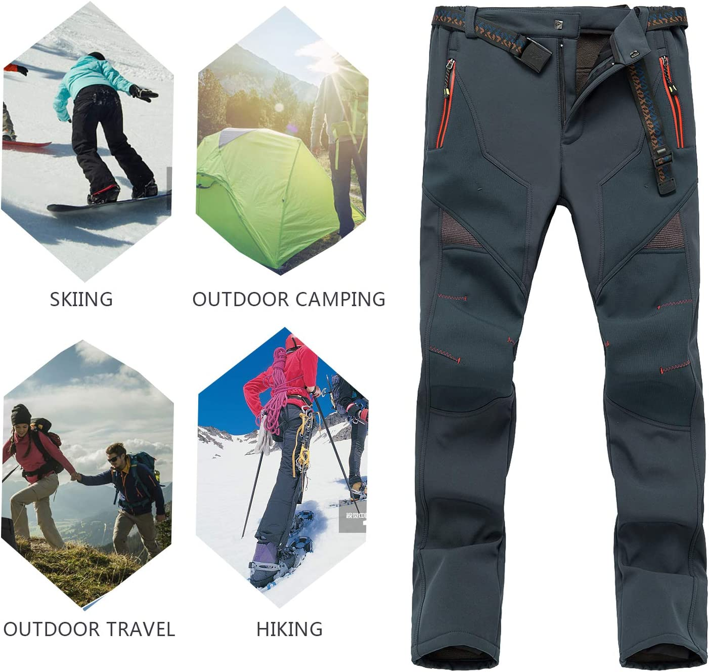 SUKUTU Womens Softshell Fleece Lined Hiking Trousers Outdoor Lightweight Quick Dry Walking Climbing Pants