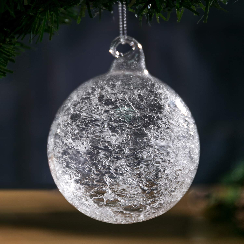 "Amazon Christmas Glass Handmade Clear Ball Ornaments 3 95"" 10"