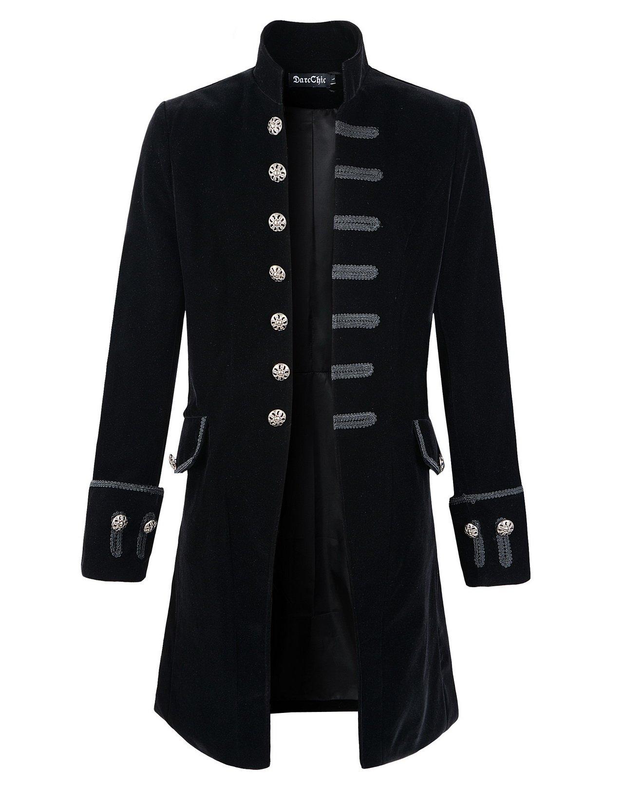 DarcChic Mens Velvet Goth Steampunk Victorian Frock Coat (XXL, Black) by DarcChic