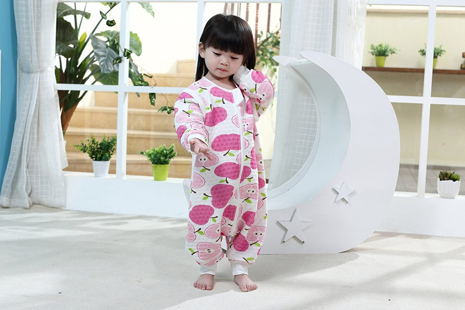 Baby Sleeping Bag with Zipper Legs Separated Sleeves Removable 1.5 Tog,Green Apple XL