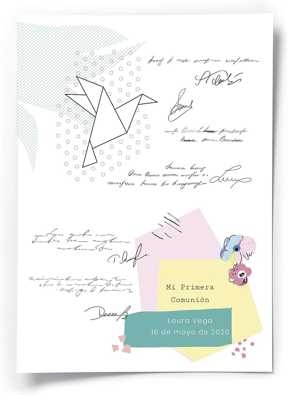 Fotoprix Poster de firmas para Comunión Personalizado con Nombre y Fecha | Regalo Original | Varios diseños y tamaños (Comunión 8, 50 x 70): Amazon.es: Hogar