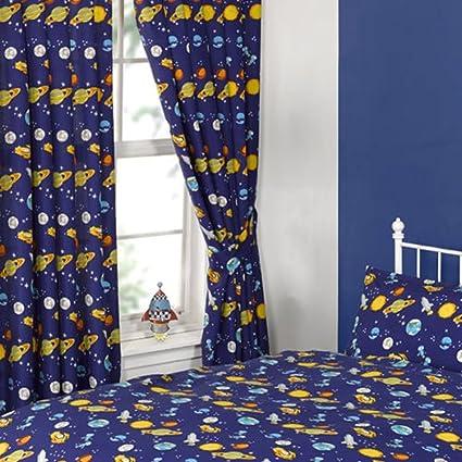 Para cuarto para niños cortinas un par de diseño de cohetes de ...