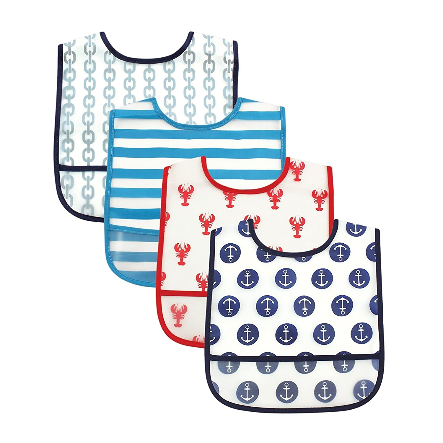 Luvable Friends 4 Piece Waterproof Bibs with Crumb Catcher, Flamingos BabyVision 02351_Flamingos