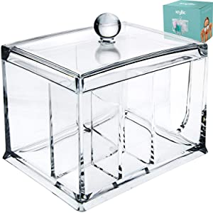 Qtips Cotton Balls Makeup Holder - Acrylic make up decor box organizer and qtip dispenser with lid! Bathroom products storage organizers for pads gauze qtip cotton ball also for office supplies & more