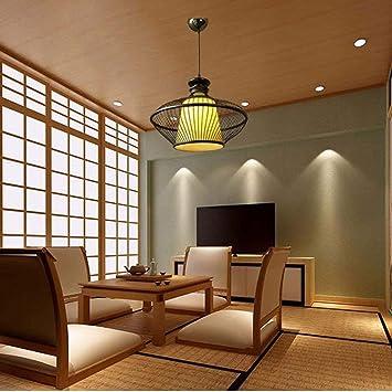 GONGFF Lustre Salon De Thé Zen Bambou Lampe Restaurant Salon De Thé ...
