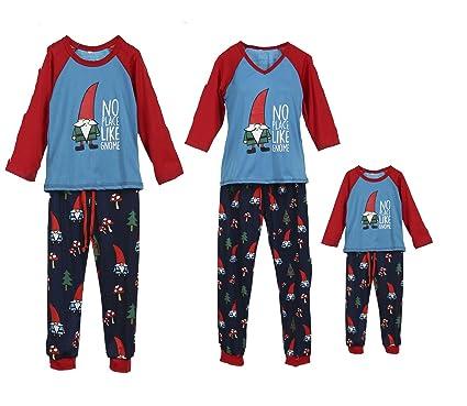 7ef270e360 Family Christmas Pajamas Set Long Sleeve Tops Santa Gnome Print Sleepwear PJ  Holiday Clothes (3