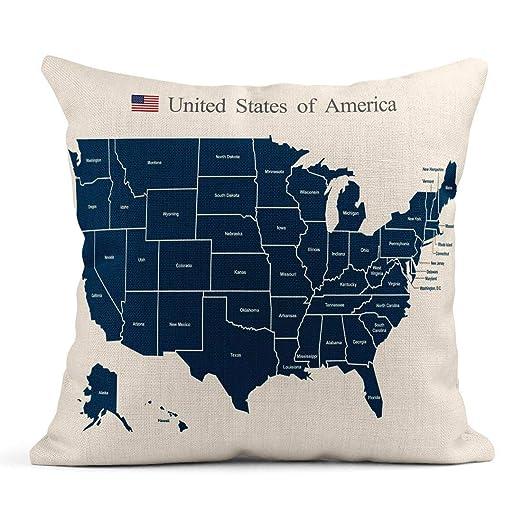 Cojín Azul Estado EE.UU. Mapa América Plano Michigan Silueta ...
