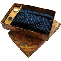 Blacksmith Polka Navy Tie, Cufflink, Pocket Square Set for Men