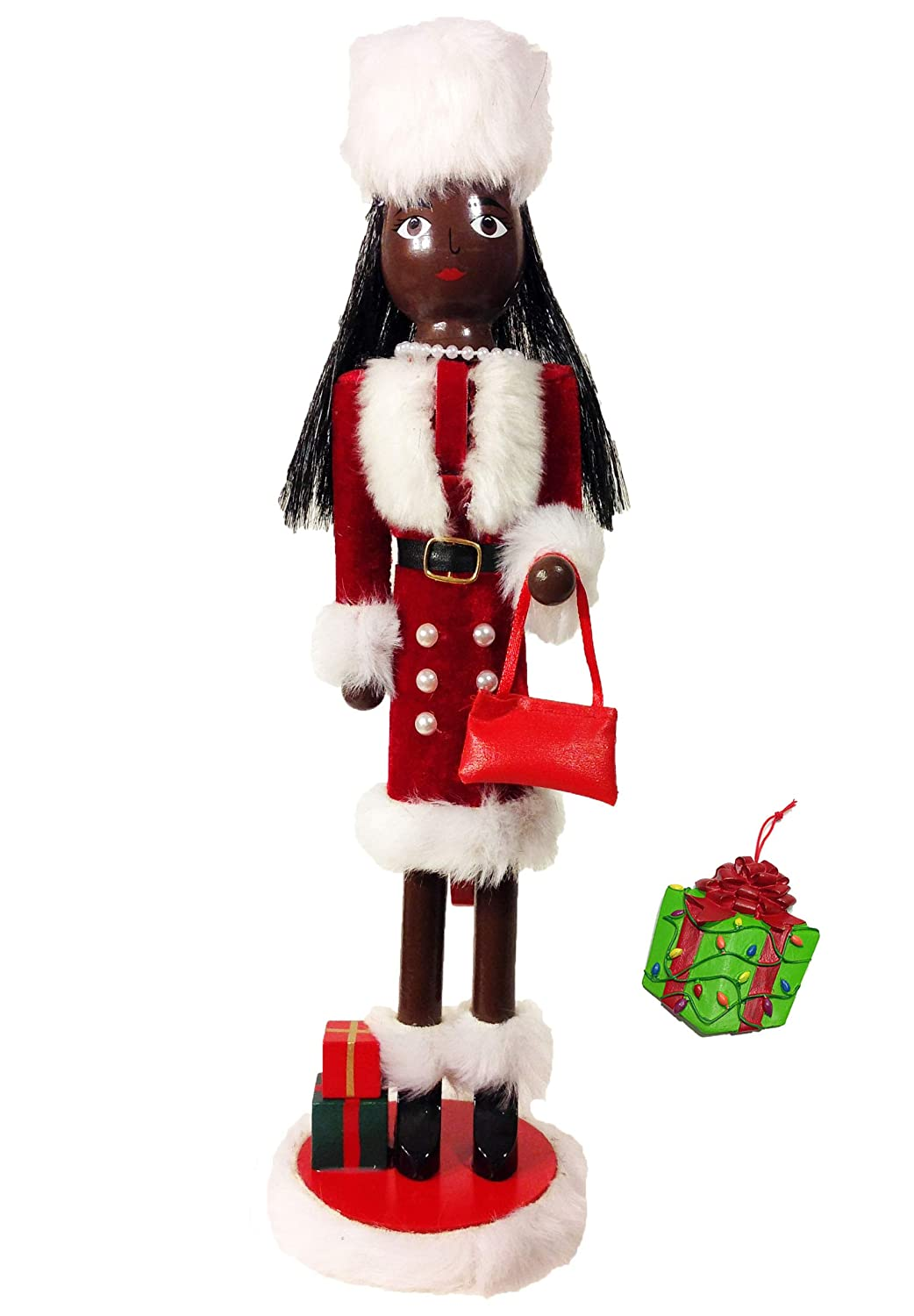 Distinctive Designs African American Shopping Girl Large Unique Decorative Holiday Season Wooden Christmas Nutcracker & Bonus Tree Ornament