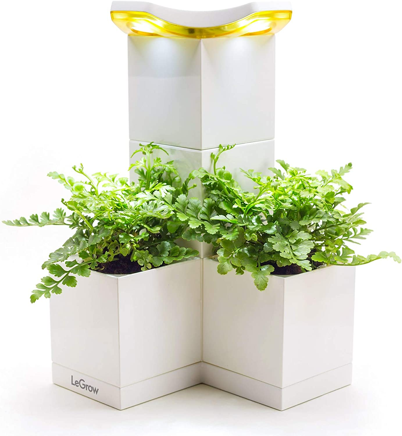 LeGrow Shine Smart Indoor Planter - Garden Tower with Artificial Sunlight - 5 Patented Design Stackable Plant Pots, 2 Bottom Connectors, 1 Plant Growth Lamp, 1 Base (Plants Not Included)