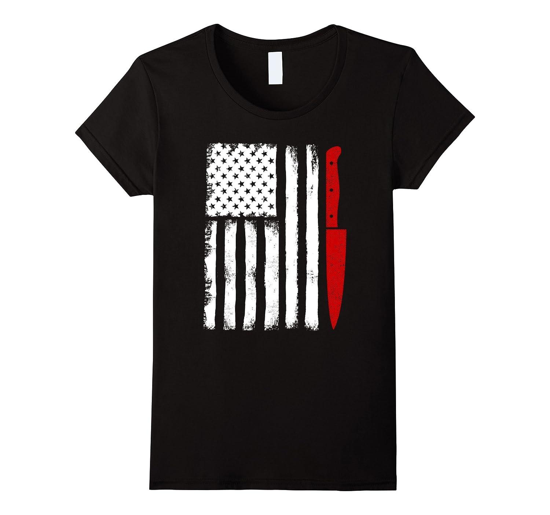 Chef Shirt Knife USA Flag Design