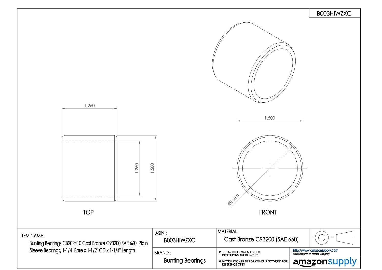 Plain Bearings Bunting Bearings CB050703 Sleeve 5//16 Bore x 7//16 OD x 3//8 Length Pack of 3 SAE 660 Cast Bronze C93200