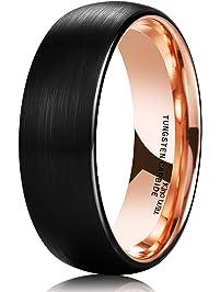 king will duo 8mm women men black tungsten carbide ring matte brushed dome 18k rose gold - Mens Rose Gold Wedding Rings