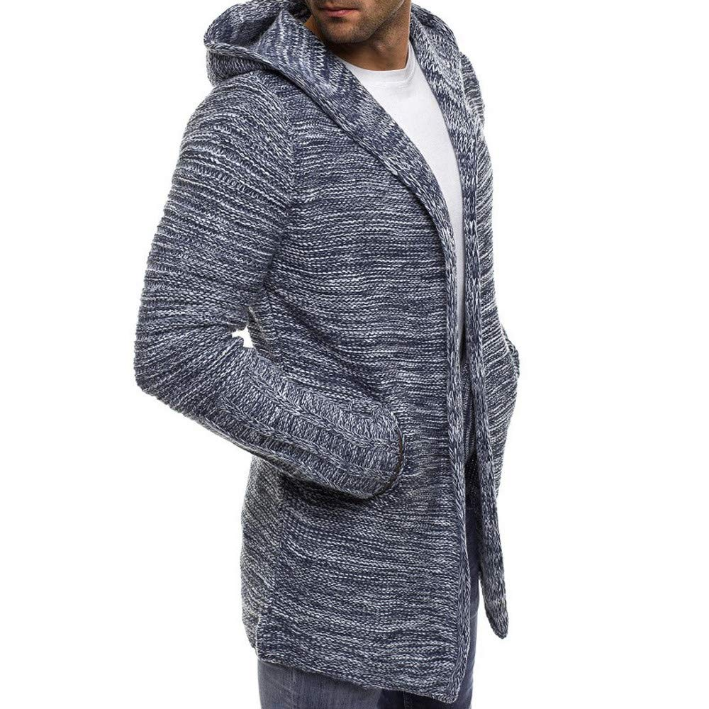 OMINA Mens Long Cardigan Sweaters Lightweight Hoodie Autumn Winter Warm Fashion Casual Slim Fit Trench Coat