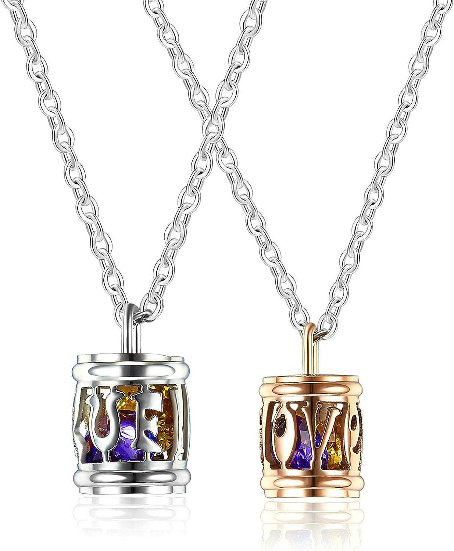 MoAndy Necklace for Couple Titanium Steel Pendant Necklaces Hollow Love with Cz