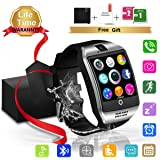 Smart Watch Bluetooth Smartwatch with Camera TouchScreen SIM Card Slot, Waterproof Phones Smart Wrist Watch Compatible with iPhone Android Samsung Huawei Sony for Kids Men Women (Silver Smart Watch)