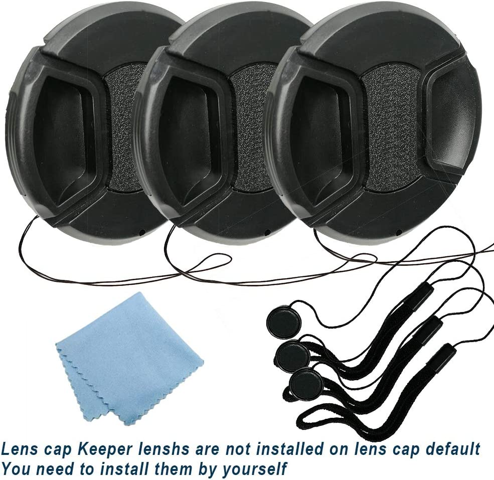 Balaweis 3 Pack 49mm Center Pinch Lens Cap Bundle and Cap Keeper Leash for DSLR Cameras Compatible with Canon Nikon Sony and Any 49mm Thread Lenses Microfiber Cleaning Cloth