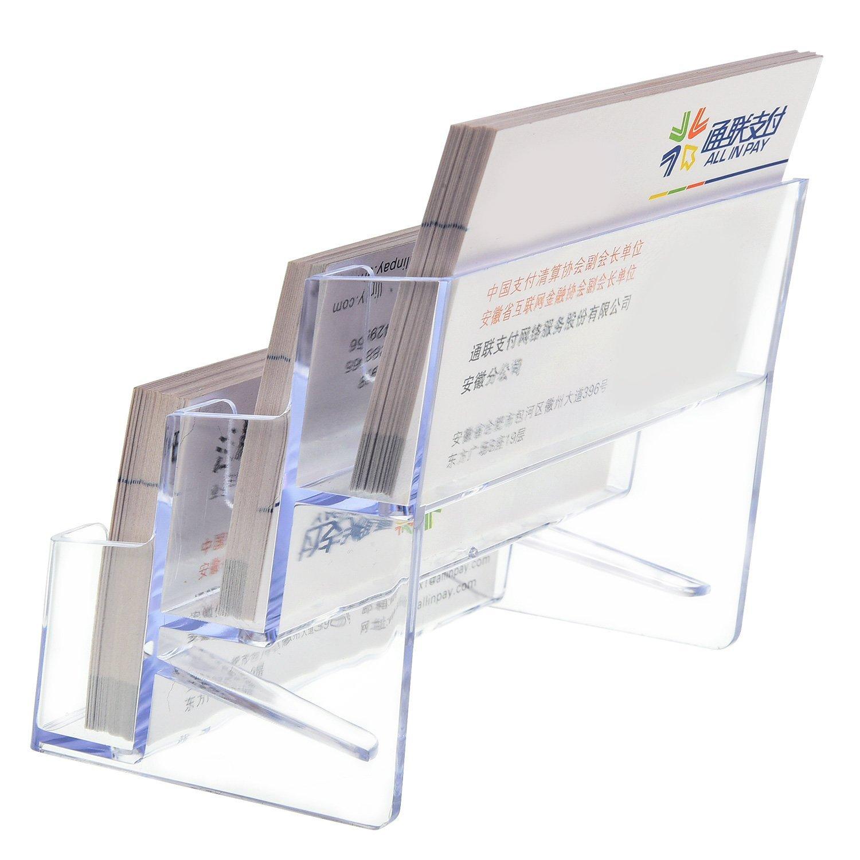 180 Carte di Capacit/à 2 Pezzi Porta Biglietti da Visita 3 Terzo Organizzatore di Stand per Carte di Plastica Trasparente Display del Titolare della Carta per Ufficio